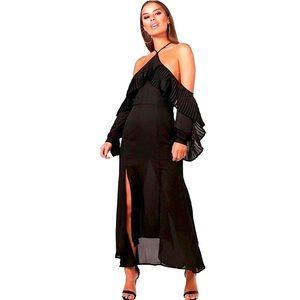 Boohoo black Halter Pleated Neckline Midi Dress